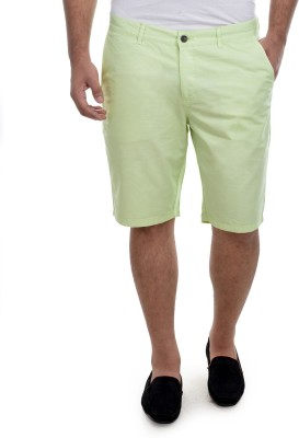 nuluk Solid Men's Green Chino Shorts