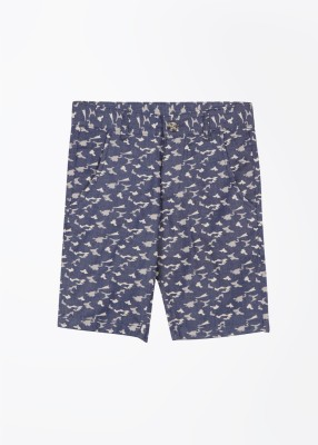 United Colors of Benetton Printed Boy's White, Blue Basic Shorts