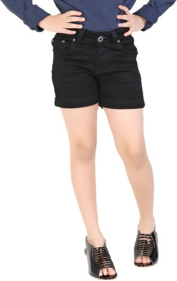Clench Solid Girl's Black Denim Shorts