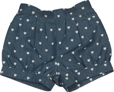 My Lil,Berry Printed Girl's Denim Blue Denim Shorts