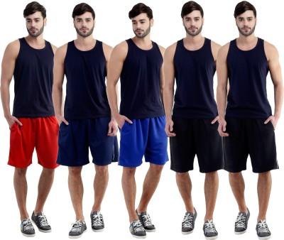 Dee Mannequin Self Design Men's Red, Dark Blue, Blue, Black, Black Sports Shorts