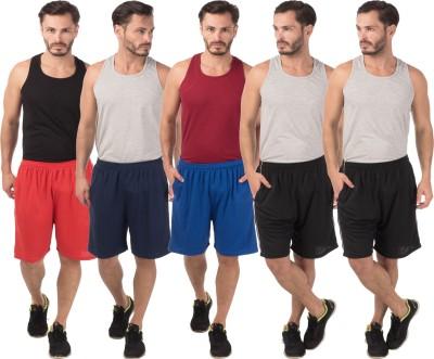 Meebaw Self Design Men,s Red, Dark Blue, Blue, Black, Black Sports Shorts