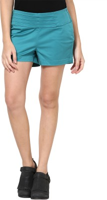 Species Solid Women's Green Basic Shorts