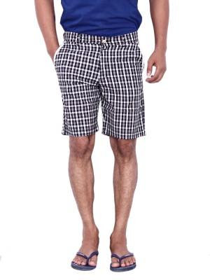Calloway Checkered Men's Black, White Basic Shorts
