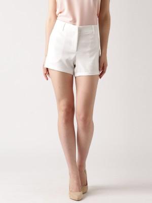 Dressberry Solid Women's White Basic Shorts