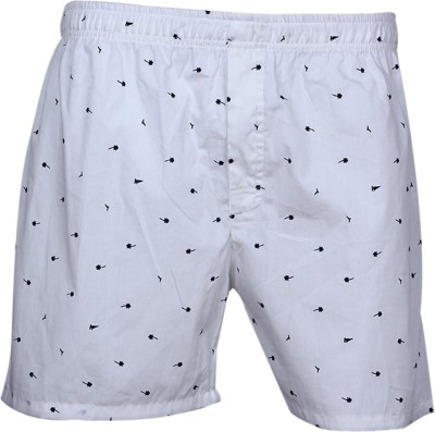 ArcticPlus Printed Men's White Boxer Shorts