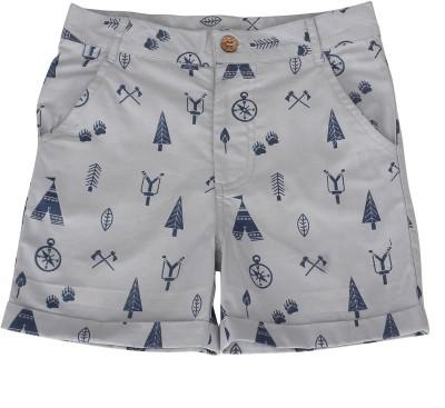 Nino Bambino Printed Boy's Grey Basic Shorts