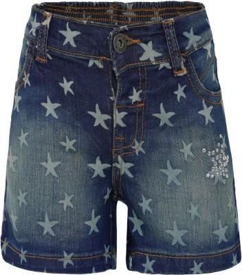FS Mini Klub Printed Baby Boy's Blue Denim Shorts
