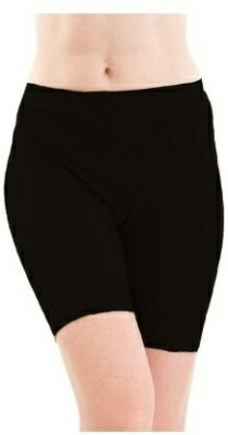 Spongy Solid Women's Black Cycling Shorts