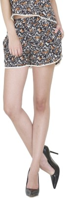 9onnine Printed Women's Brown Cargo Shorts