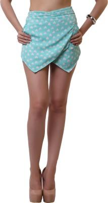 Belle Fille Printed Women,s Green Basic Shorts