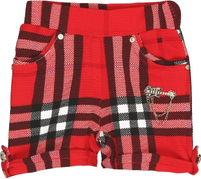Kittybitty Checkered Girl's Red Basic Shorts