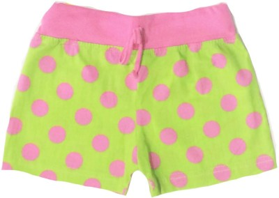 Tomato Polka Print Girl's Green, Pink Basic Shorts