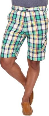 Ramarrow Checkered Men's Green, White Cargo Shorts