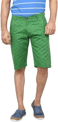 Clickroo Printed Men's Green Chino Shorts