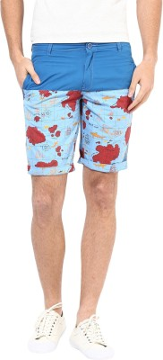 Silver Streak Geometric Print Men,s Multicolor Beach Shorts