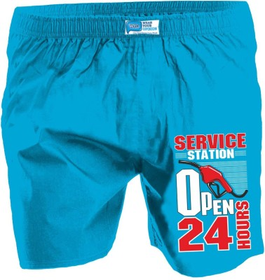 Wear Your Opinion Printed Men's Reversible Blue Boxer Shorts
