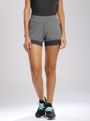 HRX by Hrithik Roshan Solid Women's Grey Sports Shorts at flipkart