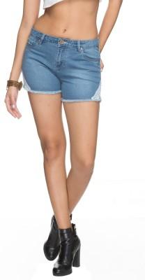 Tarama Solid Women's Light Blue Denim Shorts