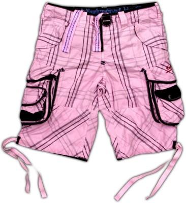 Blacksoul Checkered Men's Pink Cargo Shorts