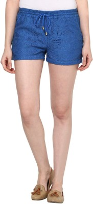The Vanca Self Design Women's Blue Basic Shorts