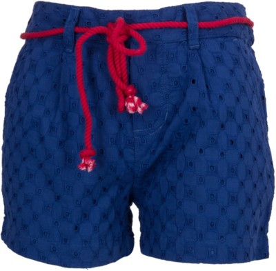 Miss Alibi by Inmark Self Design Girl's Blue Basic Shorts