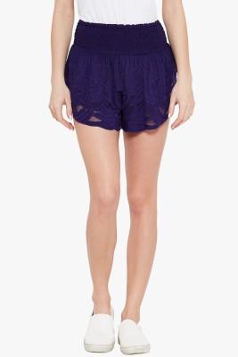 Ozel Studio Solid Women's Blue Beach Shorts