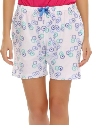 Clovia Printed Women's White Basic Shorts at flipkart