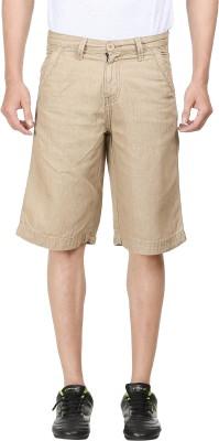 FX Jeans Co Solid Men's Beige Cargo Shorts