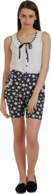 Holidae Floral Print Women's Blue, White Basic Shorts