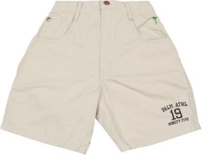 Palm Tree Solid Boy's White Basic Shorts