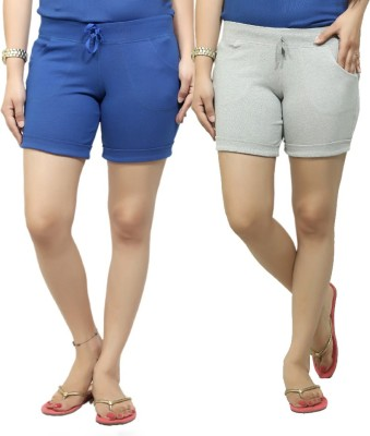 By The Way Solid Women's Blue, Grey Basic Shorts, Beach Shorts, Cycling Shorts, Night Shorts
