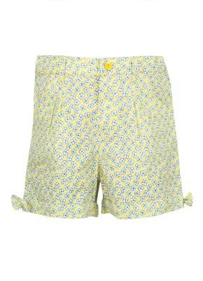 Buttercups Printed Girl's Green Basic Shorts