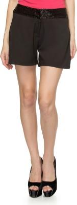 Oxolloxo Solid Women's Black Basic Shorts at flipkart