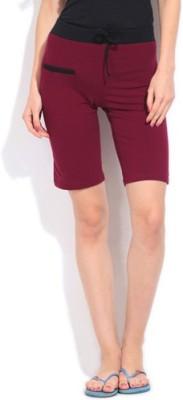 Happy Hours Solid Women's Maroon Bermuda Shorts