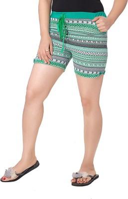 Kuukee Geometric Print Women's Green Sports Shorts