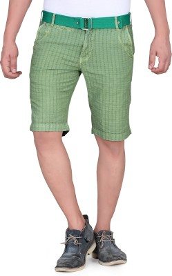 King & I Solid Men's Green Chino Shorts