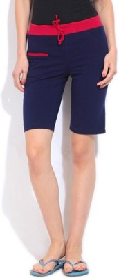 Happy Hours Solid Women's Dark Blue Bermuda Shorts