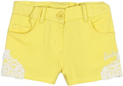 Barbie Applique Baby Girl's Yellow Basic Shorts