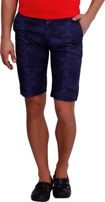 Blue77 Printed Men's Blue Basic Shorts
