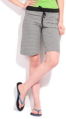Happy Hours Striped Women's Black Bermuda Shorts