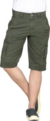 Hi-Sport Solid Men's Dark Green Basic Shorts
