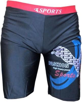 Tab Printed Mens Black Swim Shorts