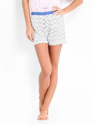 Gossip by Dressberry Printed Women's White Night Shorts