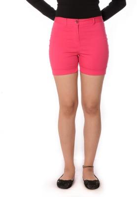Oviya Solid Women's Pink Basic Shorts