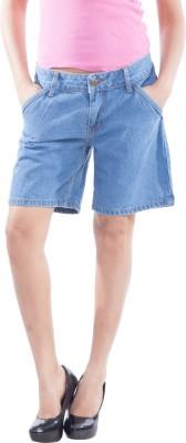 TrendBAE Solid Women's Denim Light Blue Denim Shorts