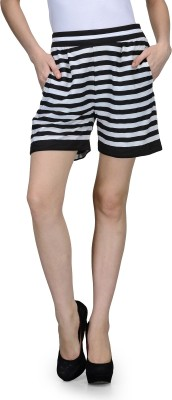 Natty India Striped Women's Black, White Basic Shorts