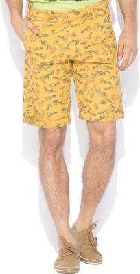 Status Quo Printed Men's Yellow Basic Shorts