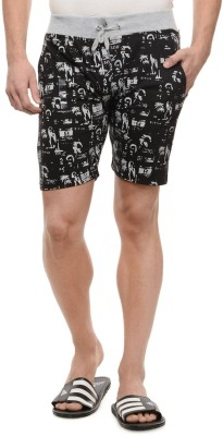 Rose Taylor Printed Men's Black Beach Shorts