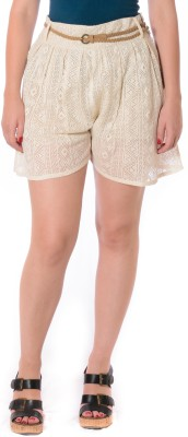 Urban Religion Solid Women's Beige Basic Shorts